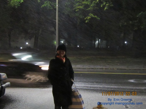 I couldn't ask my friend to take my photo on the first snow in Winter 2012. Photo by Erin Greene