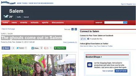 The story is run on Boston.com on October 31, 2012