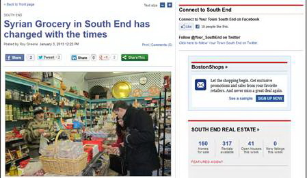The story is published on boston.com on January 3, 2013