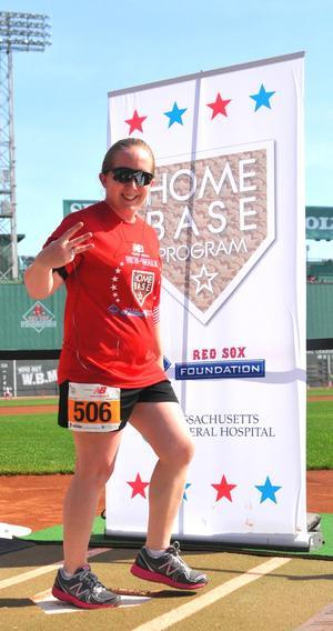 Kim Belskis crossing home plate at Fenway Park on May 20. Photo courtesy of Kim Belskis
