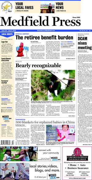 The story is run on The Medfield Press issued on June 29, 2012