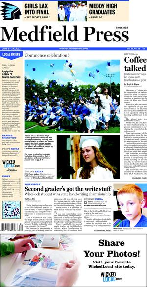 The story is published on The Medfield Press issued on June 8, 2012