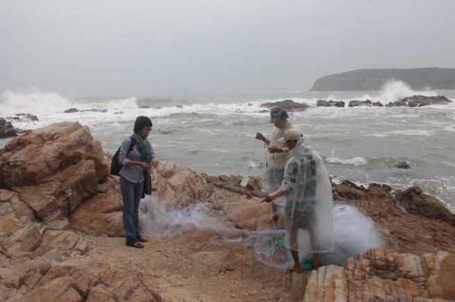 Untangling their fishing nets was the last step before they closed their fishing day which usually starts at 4 a.m.