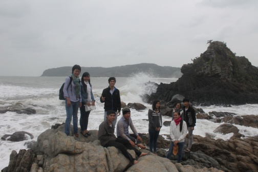 On the way back. we met a group of students from Phu Yen University, picnicking on a big rock close to the land. They told me that they first came here. Photo credit: Max Falkenberg