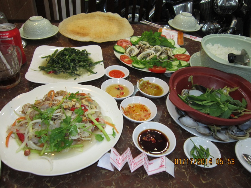 My grand seafood dinner at the restaurant opposite the hotel. Photo: Mai Ngoc Chau